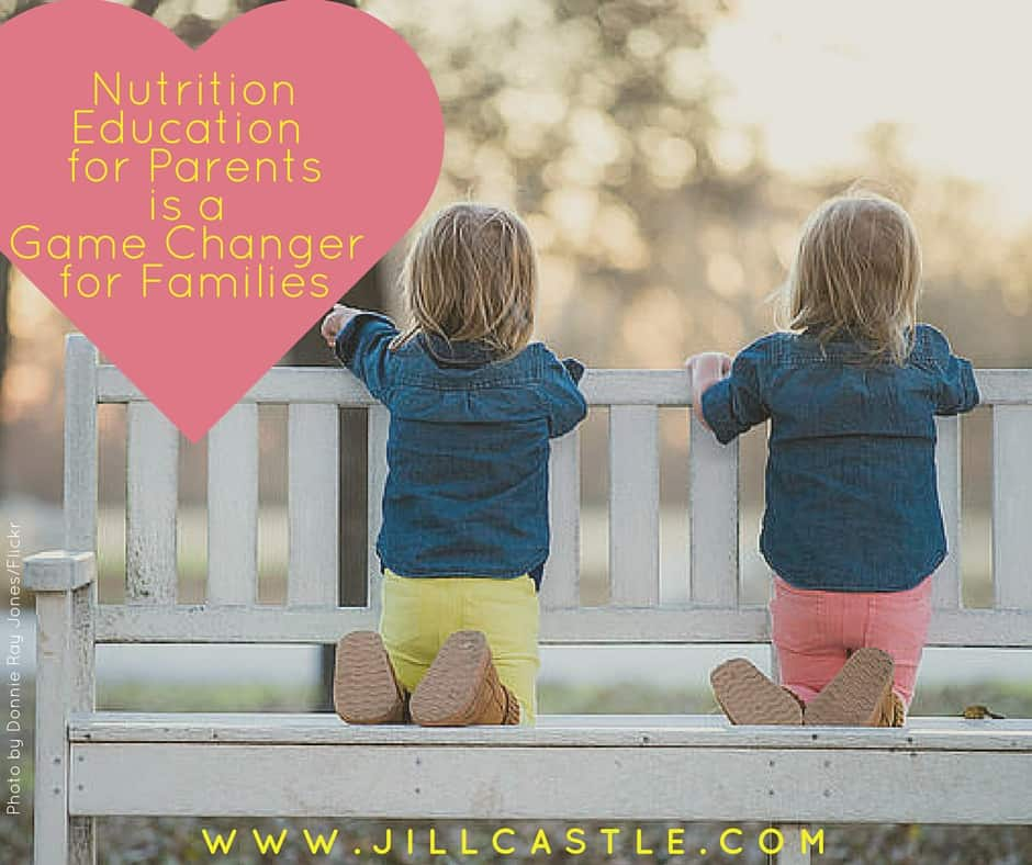 two girls on a bench: nutrition education for parents