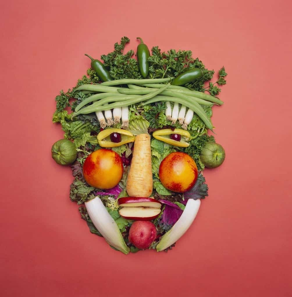 veggies assembled into a face; homemade veggie dips